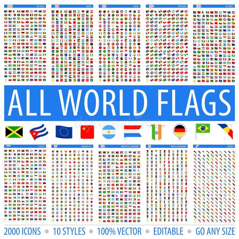 Alle Wereldvlaggen - Reeks Verschillende Stijlen Vector vlakke pictogrammen royalty-vrije stock foto