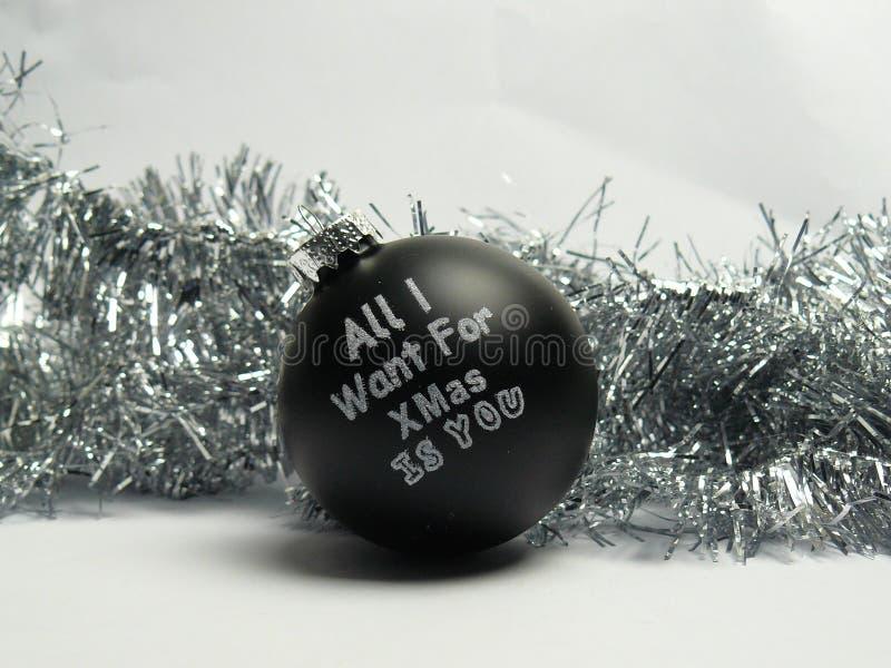 Alle wil ik want Kerstmis u bal is royalty-vrije stock afbeeldingen