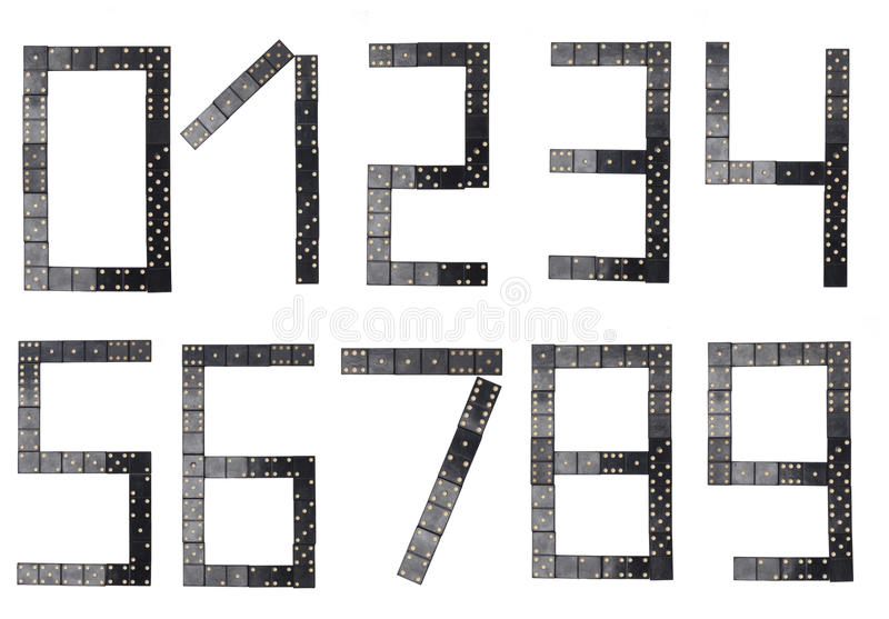 Alle Zahl gemacht von den schwarzen Dominofliesen lizenzfreie abbildung