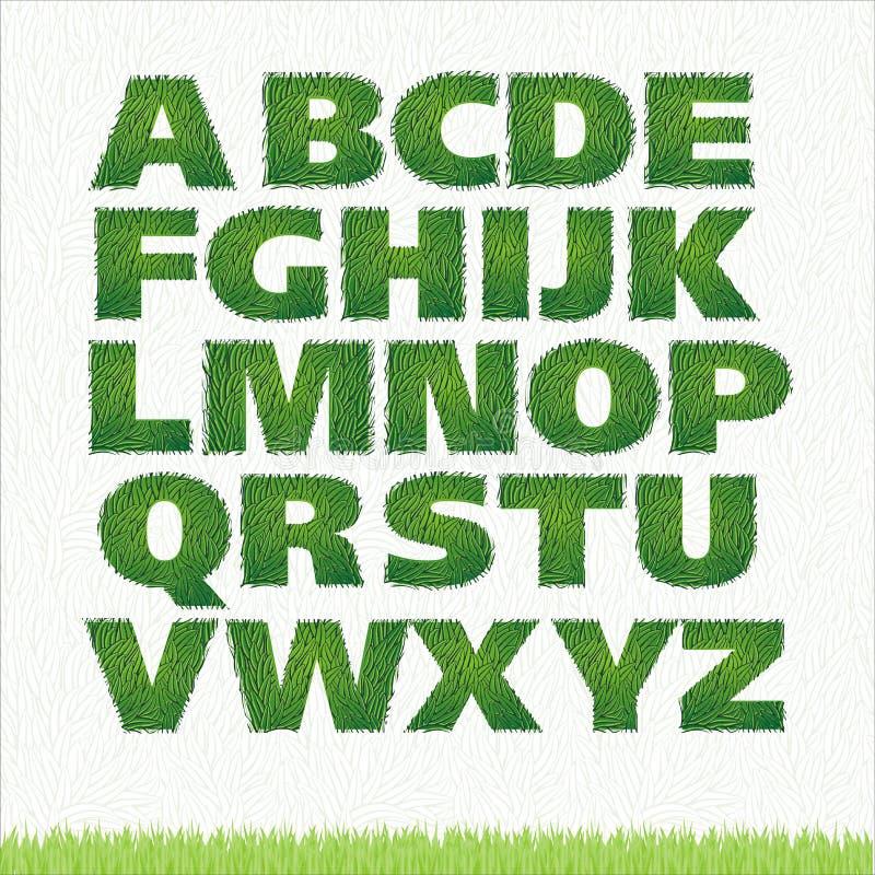 Alle Zeichen des Alphabetes des grünen Grases stock abbildung