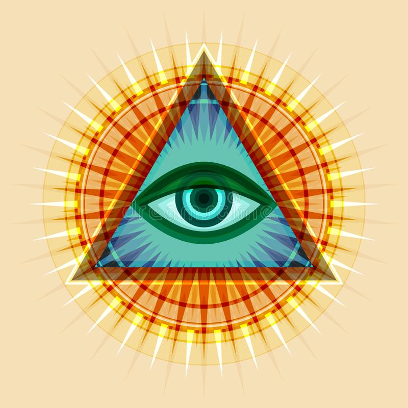 Alle-ziet Oog ( The Eye of Providence) royalty-vrije illustratie