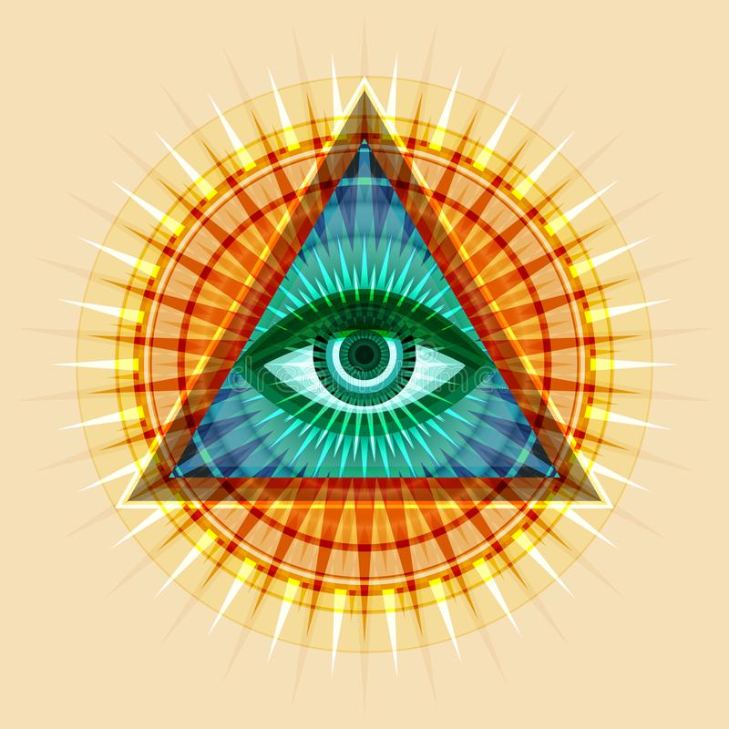 Alle-ziet Oog ( The Eye of Providence) vector illustratie