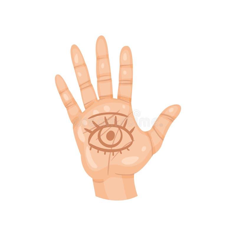 Alle-ziet oog op de palm Open menselijke hand met geestelijk symbool Waarzeggingthema Vlak vectorontwerp royalty-vrije illustratie