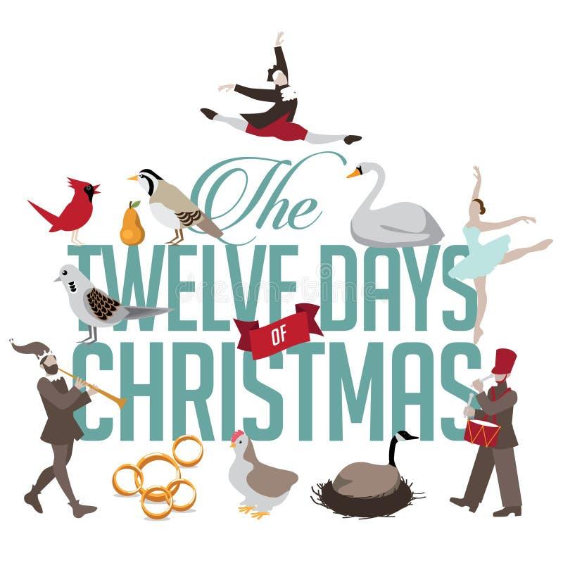 Alle zwölf Tage von Weihnachten stock abbildung