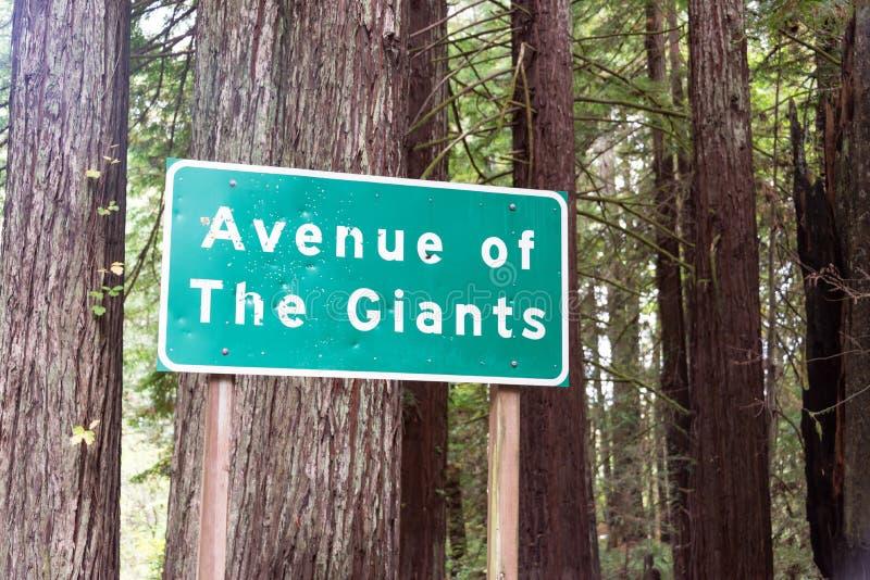 Allee des Giants-Zeichens lizenzfreie stockfotos