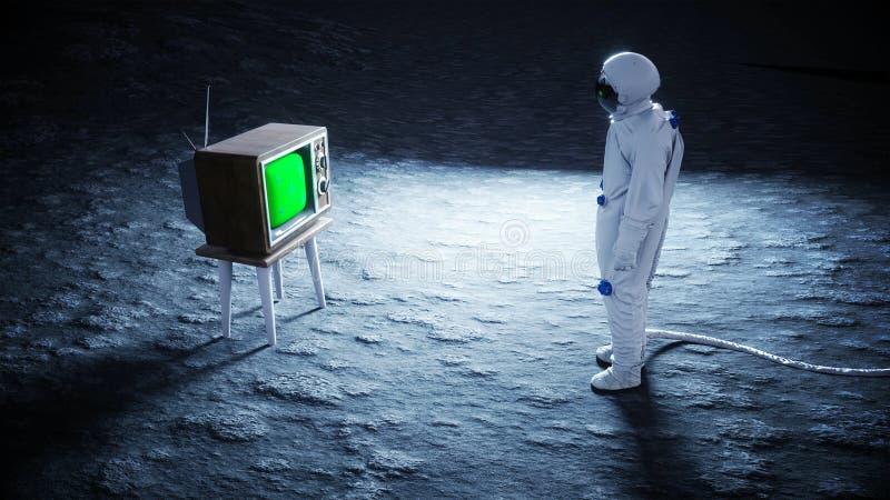 Alleen astronaut op oude TV van het maanhorloge Het volgen van uw inhoud het 3d teruggeven royalty-vrije illustratie