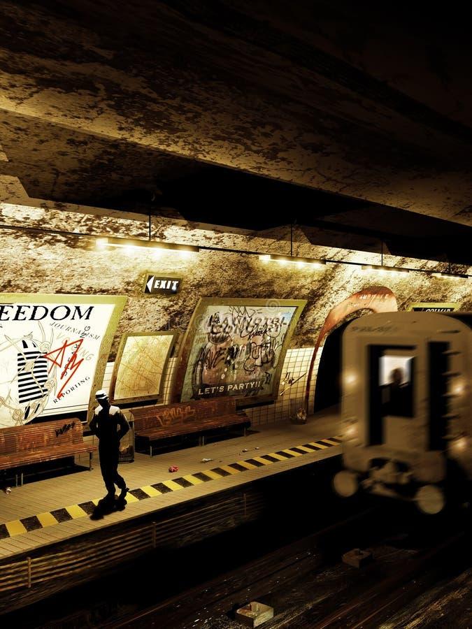 Alleen in de metro royalty-vrije illustratie