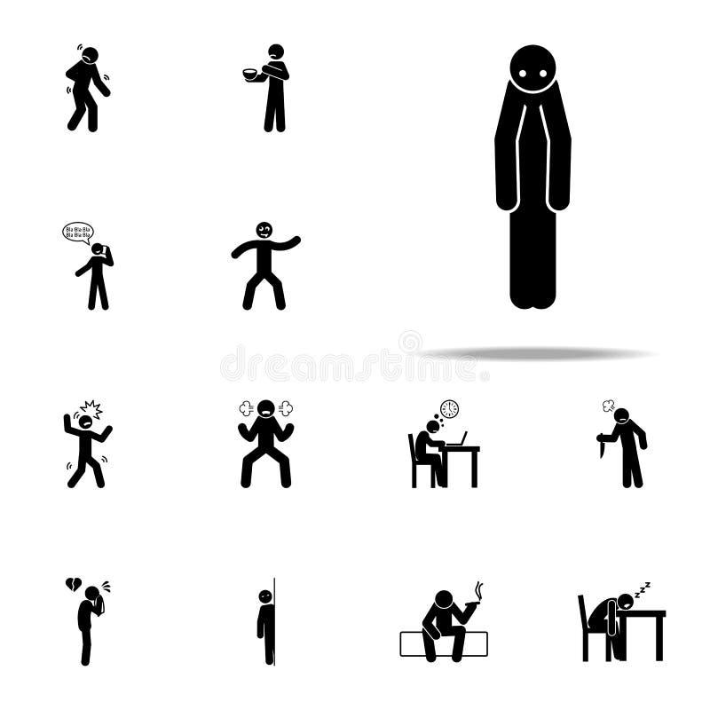 alleen, mensenpictogram Het negatieve die voor Web wordt geplaatst en mobiele algemene begrip van Karakterpictogrammen royalty-vrije illustratie