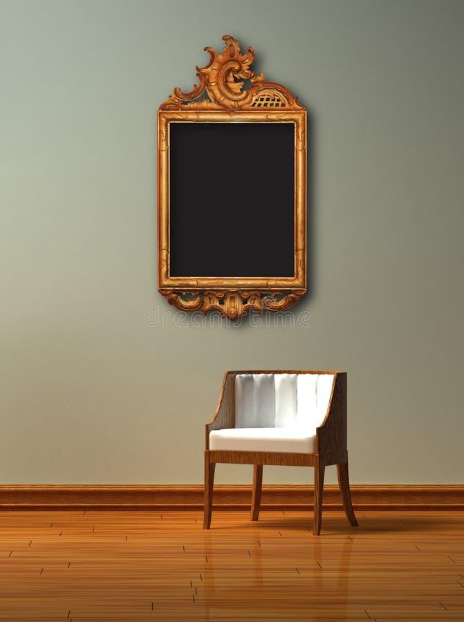 Alleen stoel met antiek frame stock illustratie