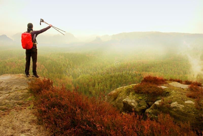 Alleen volwassen backpacker met polen in de lucht, open mening op bergvallei, nevelige regenachtige dag stock fotografie