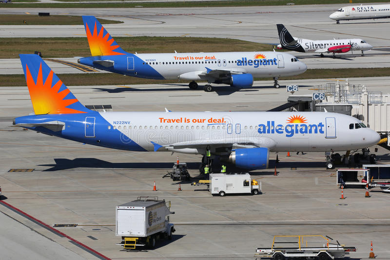 Allegiant Air Airbus A320 airplanes Fort Lauderdale airport. Fort Lauderdale, United States - February 17, 2016: Allegiant Air airplanes taxi at Fort Lauderdale royalty free stock photo
