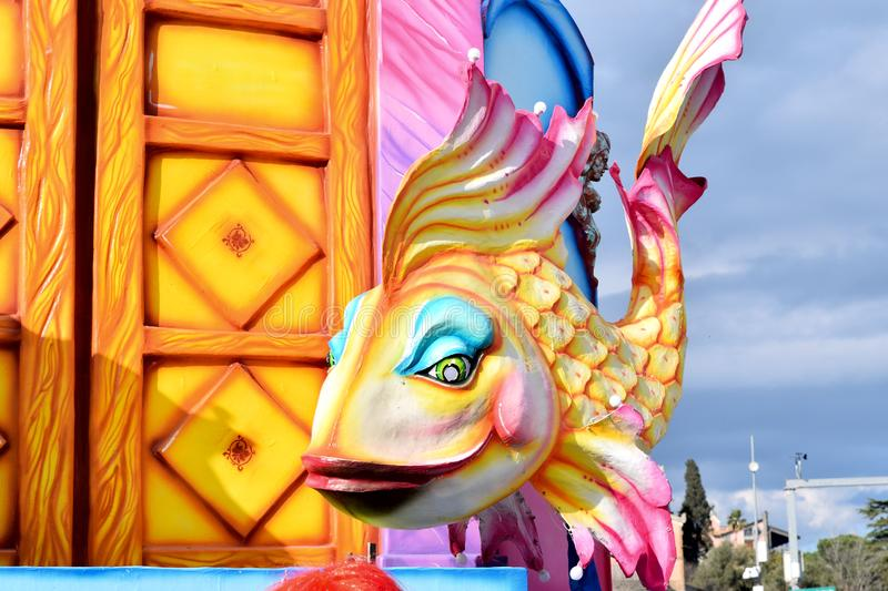 Allegorical float depicting a colorful fish stock images