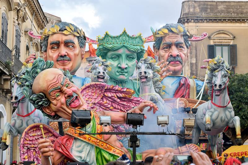 Allegorical float depicting satire on Italian justice. Acireale CT, Italy - February 11, 2018: detail of a allegorical float depicting satire on Italian justice stock photo