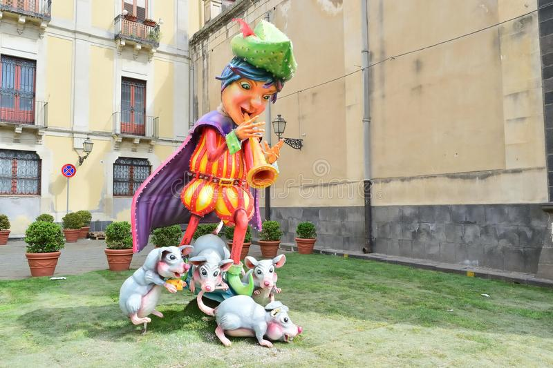Allegorical float depicting various fantasy characters. Acireale CT, Italy - April 29, 2018: detail of a allegorical float depicting various fantasy characters royalty free stock images