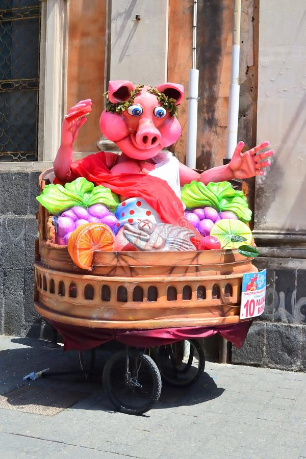 Allegorical float depicting various fantasy characters. Acireale CT, Italy - April 29, 2018: detail of a allegorical float depicting various fantasy characters stock photo