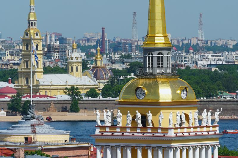 Allegorical statues on the roof of Admiralty in Saint Petersburg royalty free stock images