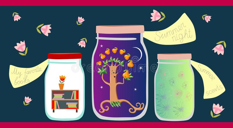 Allegorical vector illustration. My favorite books, summer night and summer scents in glass jars royalty free illustration