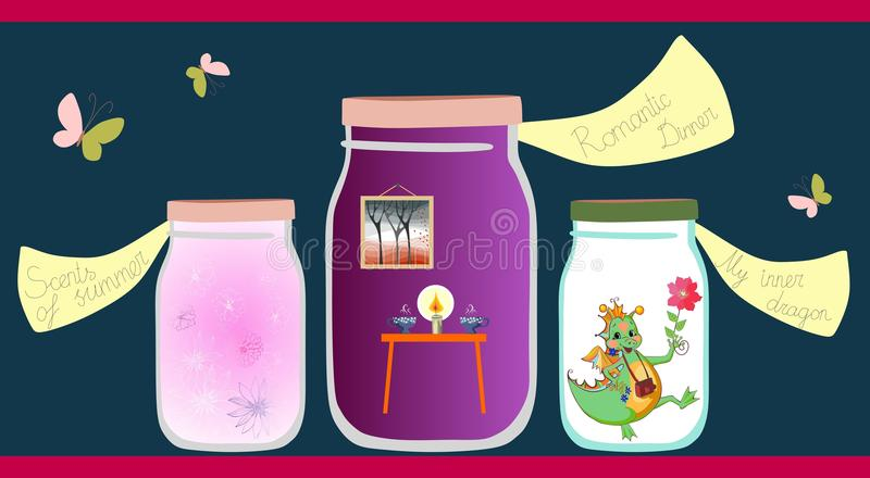 Allegorical vector illustration. Scents of the summer, romantic dinner and cheerful little dragon in glass jars vector illustration