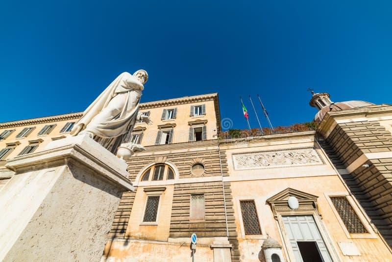 Allegorical winter statue in Piazza del Popolo stock image