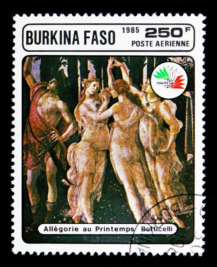 Allegorie van de Lente, door Botticelli, Stamp Exhibition ITALIË \ '85 s stock afbeelding