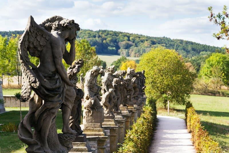 Vices allegorical statues from Matyas Braun at Kuks, Hradec Kralove region, Trutnov district, Czech Republic. The allegories of Vices statues from Matyas Braun stock images