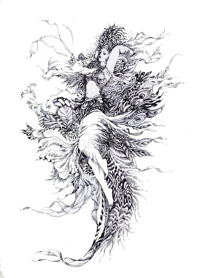 Allegory of Paradise Bird stock illustration
