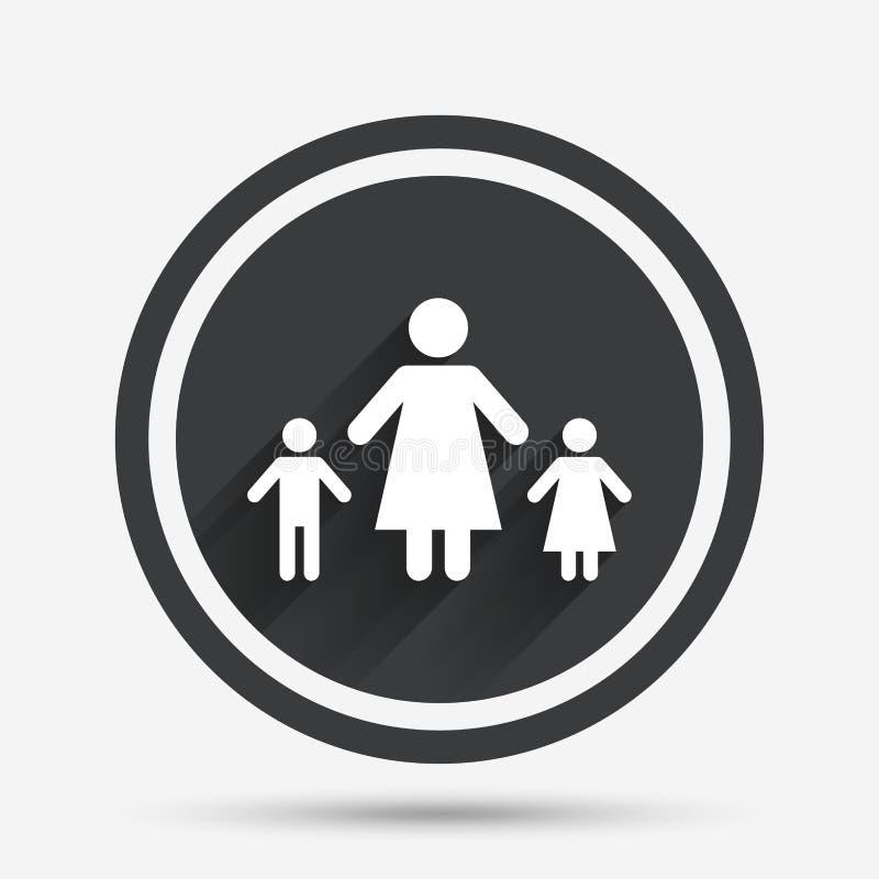 Allein Erziehende mit zwei Kinderzeichenikone lizenzfreie abbildung