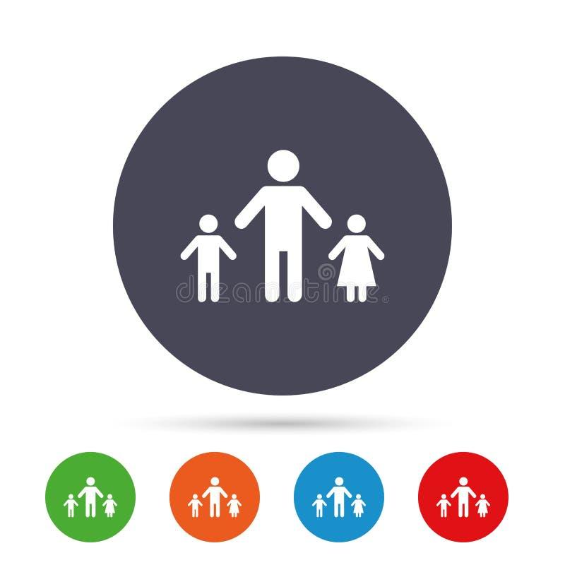 Allein Erziehende mit zwei Kinderzeichenikone stock abbildung
