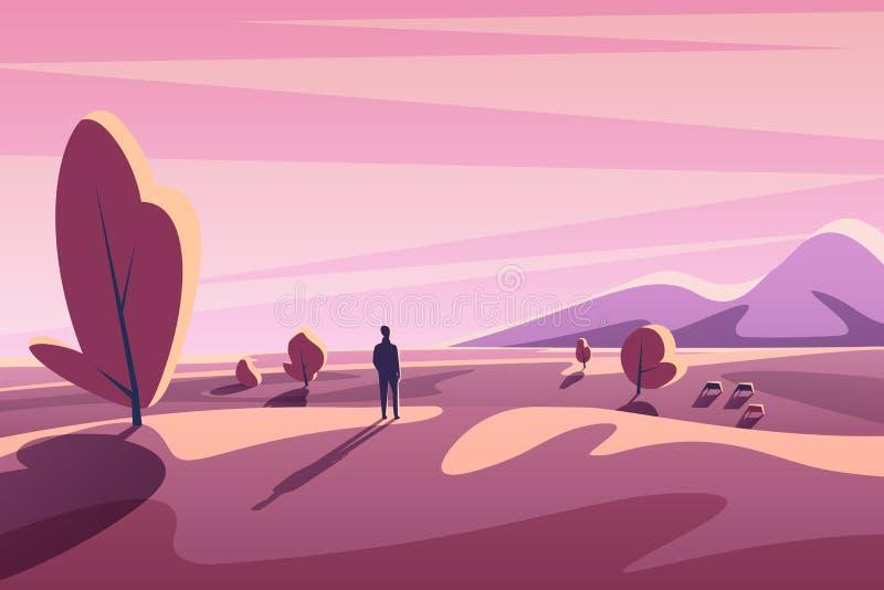 Allein junger Mann, der auf Sonnenunterganglandschaft mit Bergen, Bäume, Tiere schaut Flacher Vektor der minimalistic Karikatur d lizenzfreie abbildung