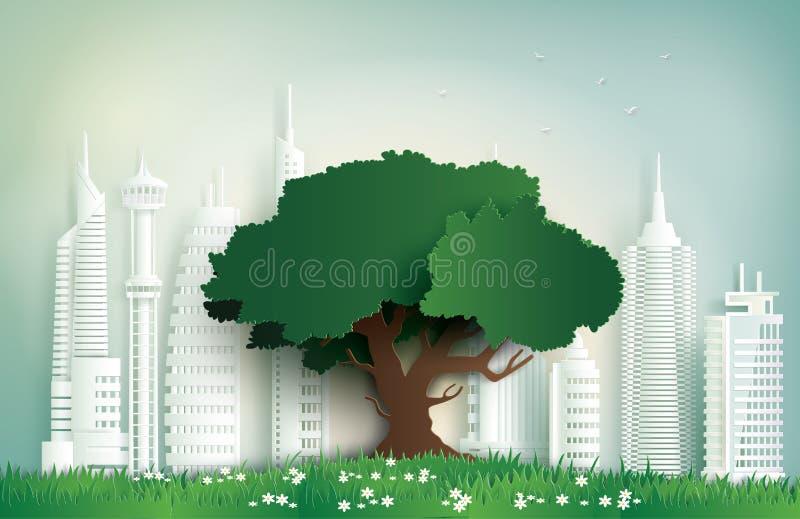 Alleinbaum auf dem Feld in der Stadt lizenzfreie abbildung