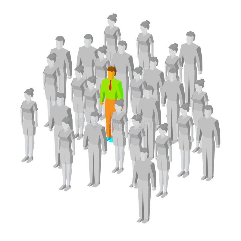 Alleine in der Masse Ein farbiger Mann unter grauen Leuten lizenzfreie abbildung