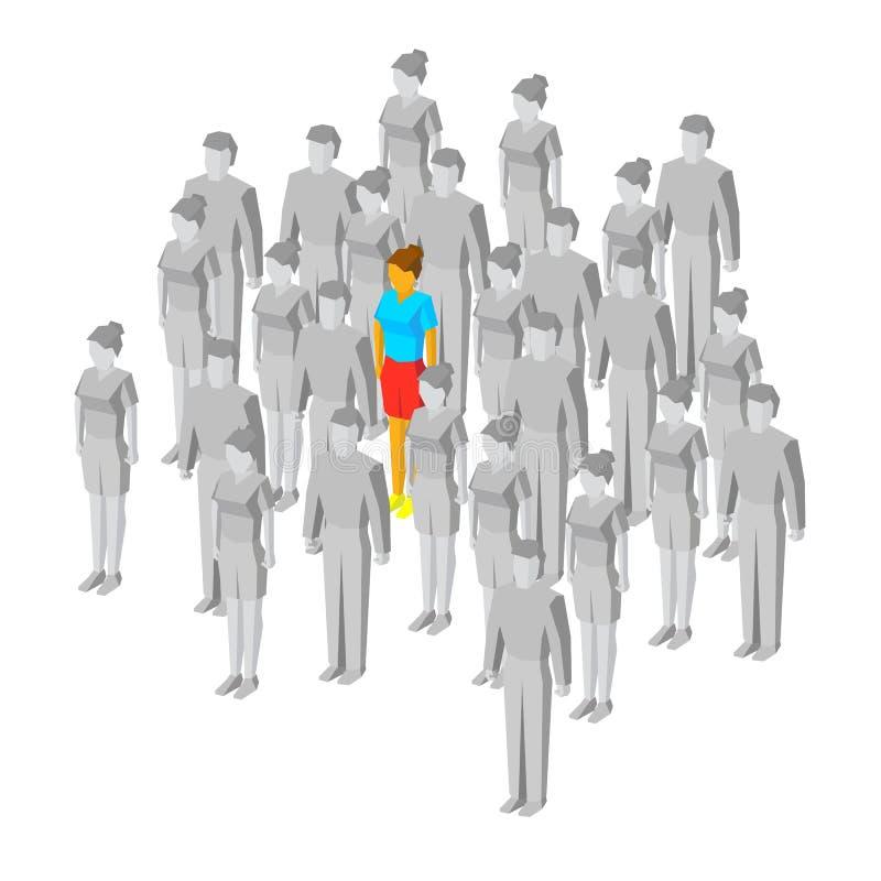 Alleine in der Masse Ein farbiges Mädchen unter grauen Leuten stock abbildung
