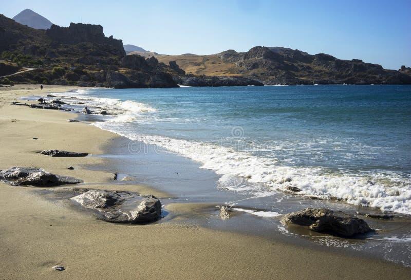 Alleiner Strand und klares Wasser in Creta lizenzfreie stockfotografie
