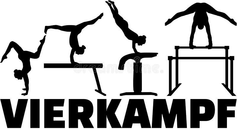 Allemand à quatre parties de gymnastique de concurrence illustration libre de droits