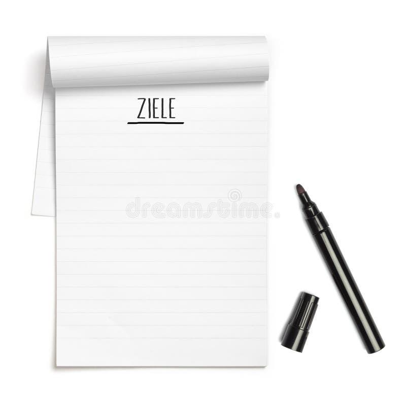 Allemand de Ziele pour des buts sur le carnet avec le stylo noir image libre de droits