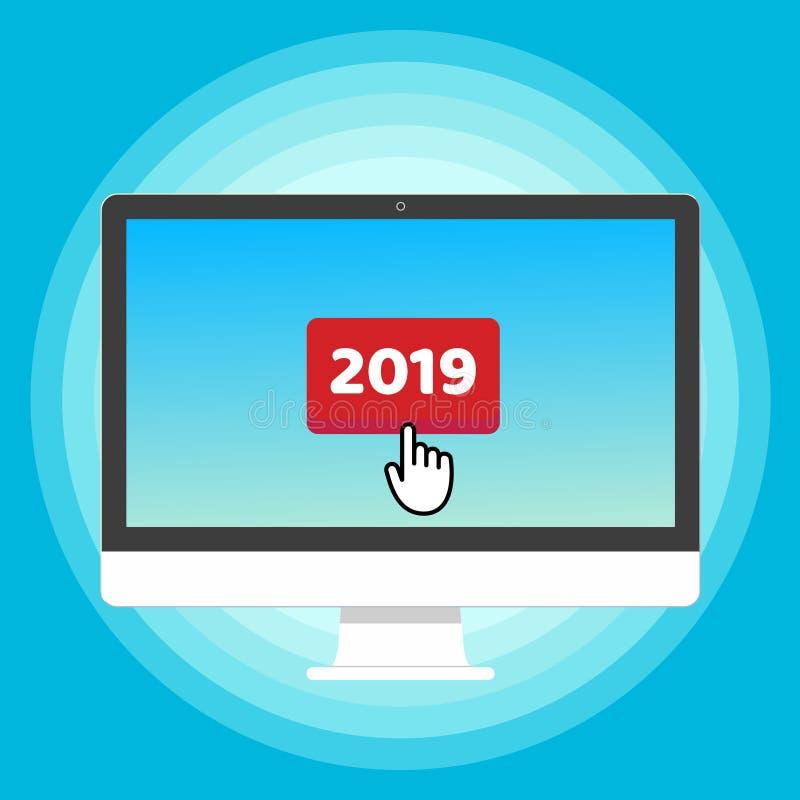 Allen in één PC-monitorapparaat met rode knoop 2019 en het teken van het de wijzerpictogram van de curseurhand duwen de knoop met stock illustratie