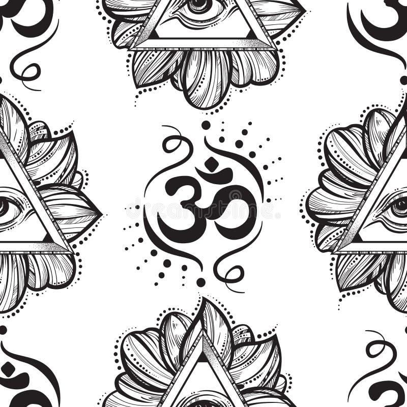 Allen die het patroon van de oogpiramide zien Hand-drawn Oog van Voorzienigheid en Ohmsymbool naadloze illustratie Alchimie, gods royalty-vrije illustratie