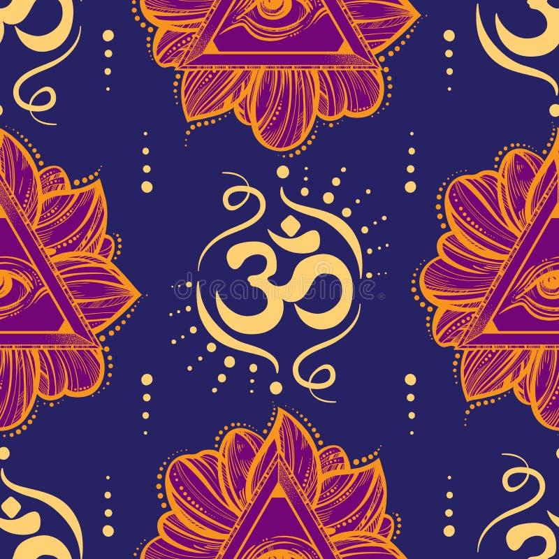 Allen die het patroon van de oogpiramide zien Hand-drawn Oog van Voorzienigheid en Ohmsymbool naadloze illustratie Alchimie, gods vector illustratie