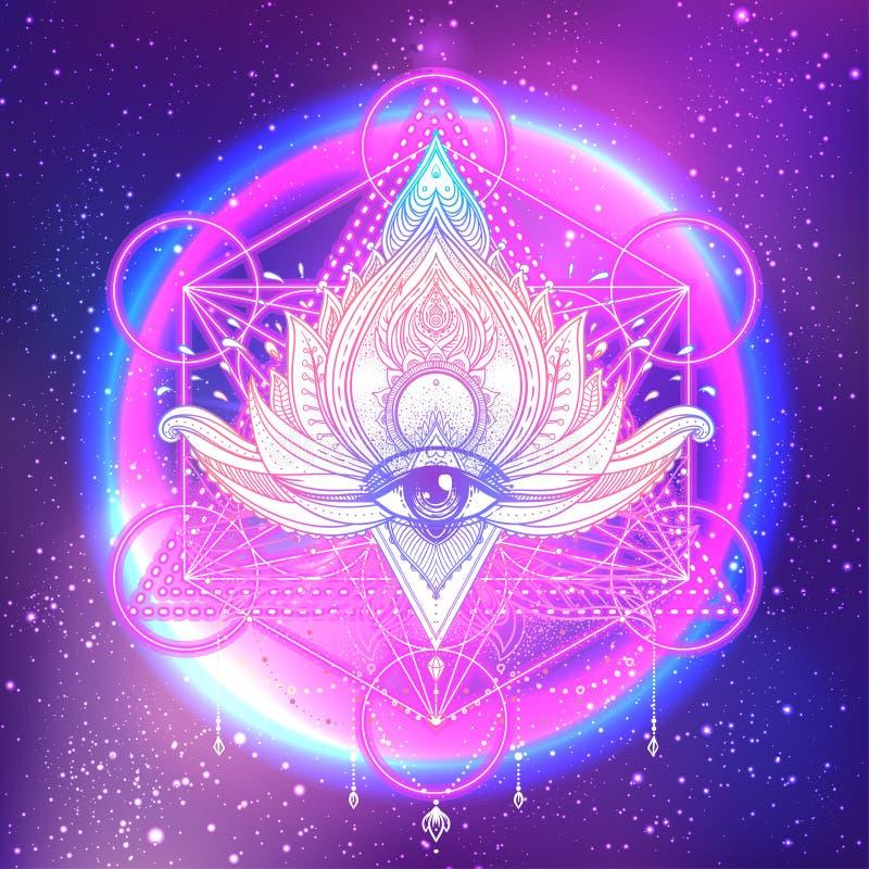 Allen die oog in bloem van lotusbloem de vector sierlotus, etnische a zien royalty-vrije illustratie