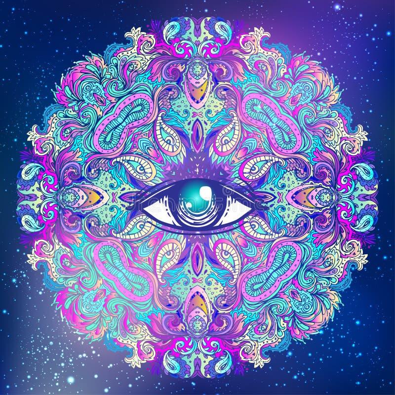 Allen die oog in bloem van lotusbloem de vector sierlotus, etnische a zien stock illustratie