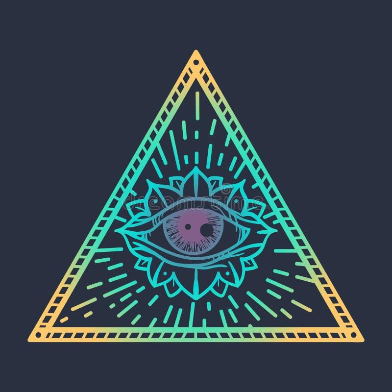 Allen die Oog in Driehoek zien royalty-vrije illustratie