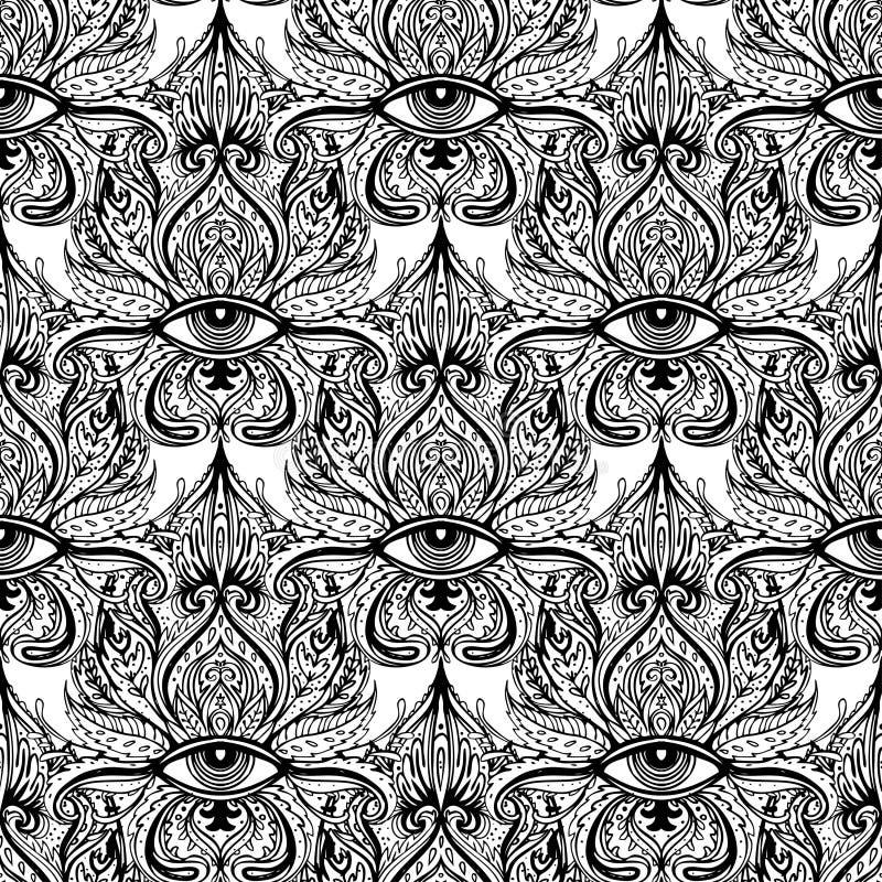 Allen die oog naadloos patroon zien Hand getrokken uitstekende stijl backgr royalty-vrije illustratie