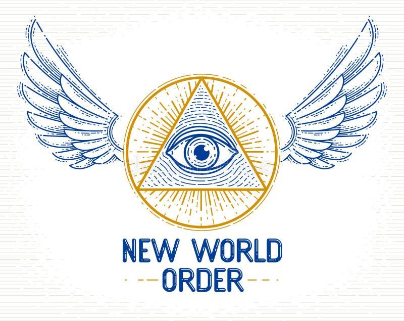 Allen die oog van god in heilige meetkundedriehoek zien met vogelvleugels van valk of engel, metselwerk en illuminatisymbool, vec stock illustratie