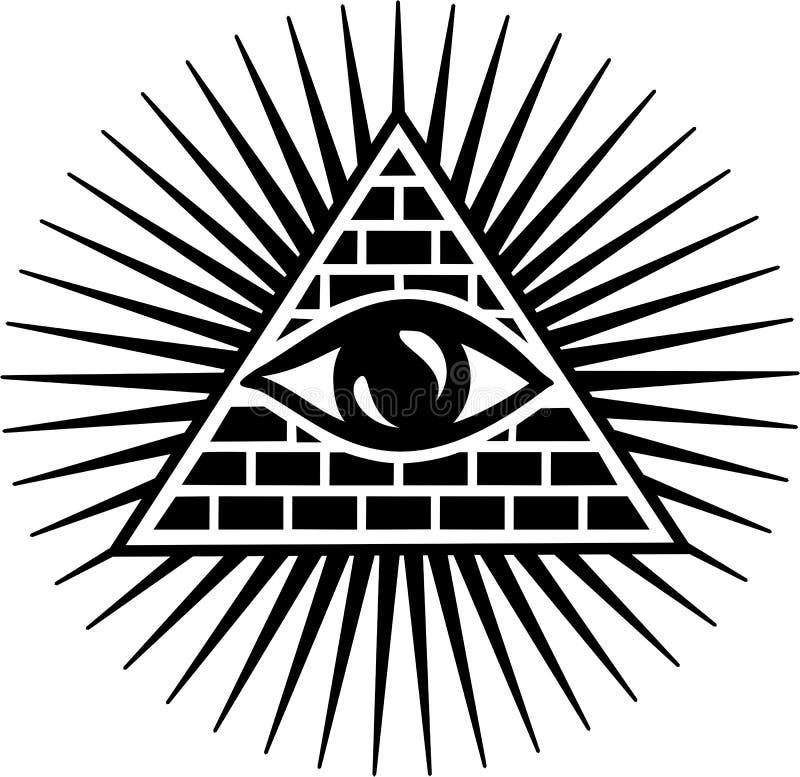 Allen die Oog zien - oog van voorzienigheid stock illustratie