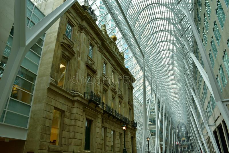 Allen Lambert Galleria in Brookfield Place, Toronto. View of the vaulted parabolic ceiling of the atrium in the Allen Lambert Galleria in Toronto during the day stock image