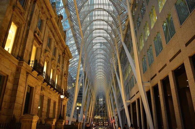 Allen Lambert Galleria in Brookfield Place, Toronto. View of the vaulted parabolic ceiling of the atrium in the Allen Lambert Galleria in Toronto during the royalty free stock images