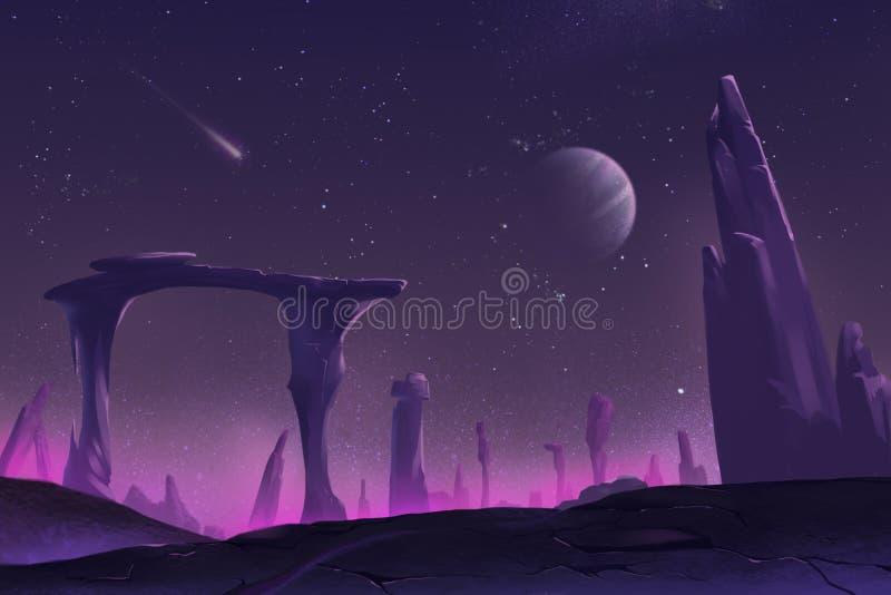 Allen Planet fantástico y exótico stock de ilustración