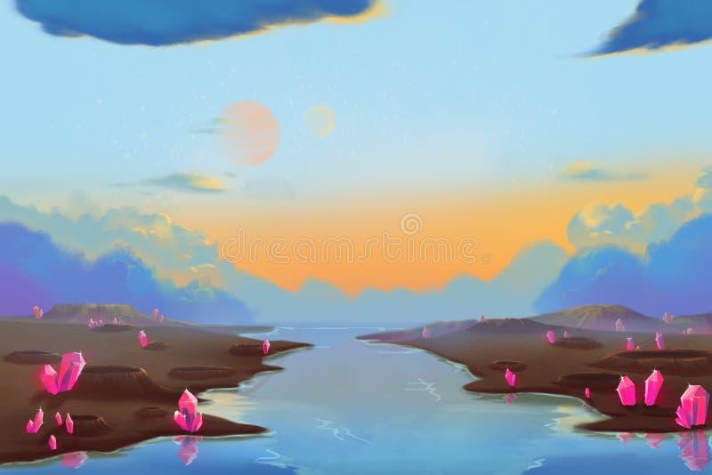 Allen Planets Environment fantástico e exótico: Cratera do meteorito ilustração do vetor