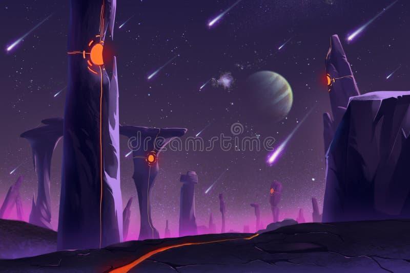 Allen Planets Environment fantástico e exótico: Stonehenge ilustração royalty free