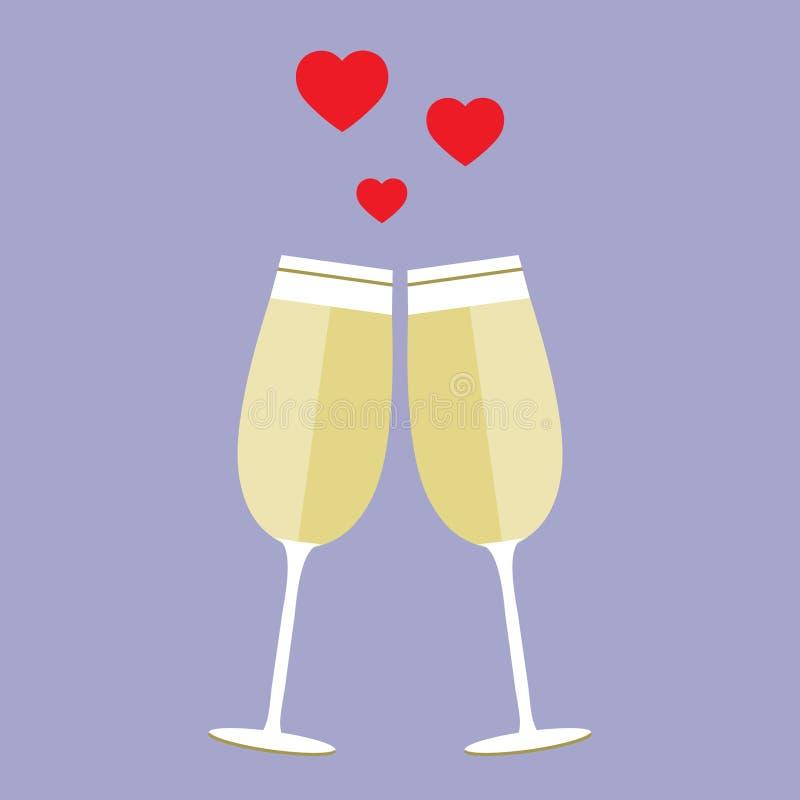 ` Allen u wenst is liefde en de wijn` affiche met twee wijnglazen en harten, kan als uitnodigingsbanner voor het deel van de vale stock illustratie